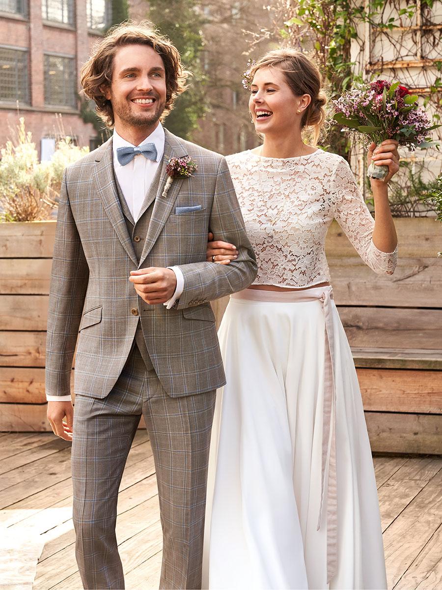 WILVORST Green Wedding khaki kockás esküvői öltöny 404102-83