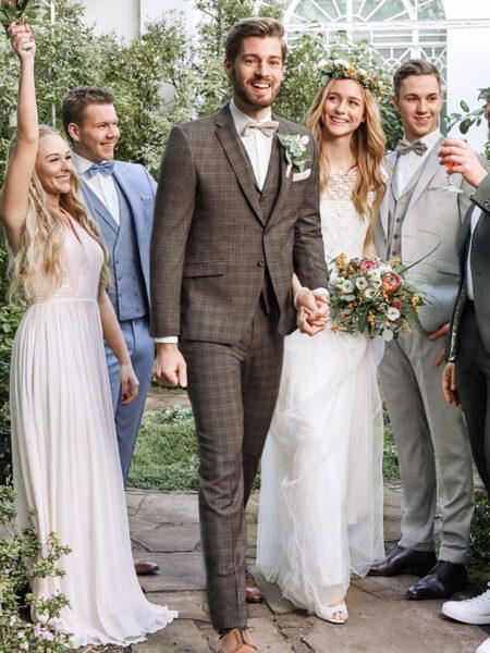 WILVORST GW kockás barna esküvői öltöny