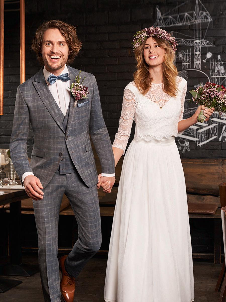 WILVORST GW kockás szürke öltöny esküvőre