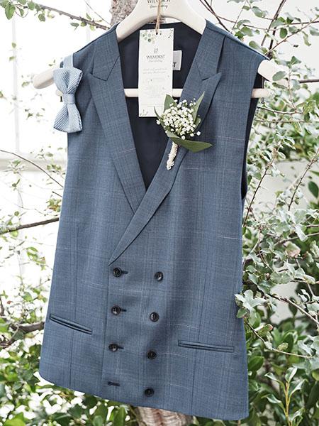 Kék kockás mellény Green Wedding vállfán